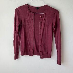 Ann Taylor Plum Purple Button Down Soft Cardigan